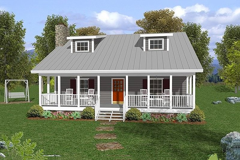 Farmhouse Style House Plan - 3 Beds 2.5 Baths 1334 Sq/Ft Plan #56-242 Exterior - Front Elevation