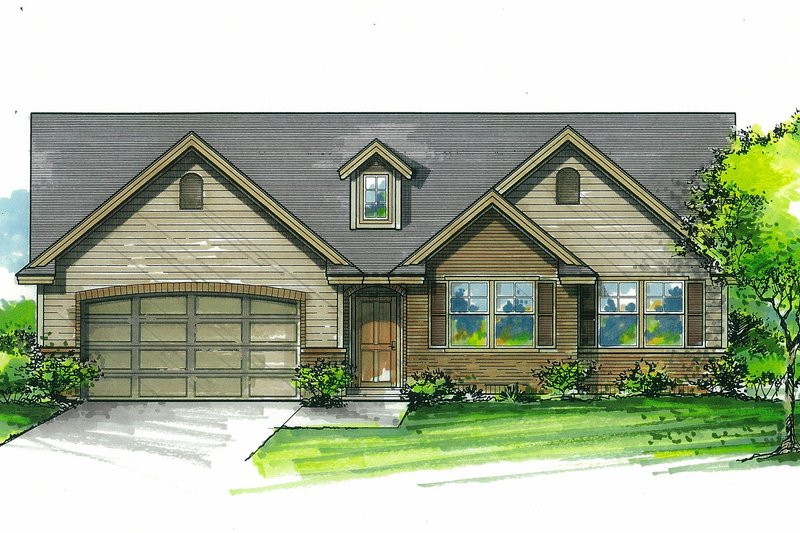 Craftsman Style House Plan - 3 Beds 2 Baths 1338 Sq/Ft Plan #53-612 Exterior - Front Elevation