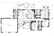 Ranch Style House Plan - 3 Beds 2 Baths 1416 Sq/Ft Plan #942-54 Floor Plan - Main Floor Plan