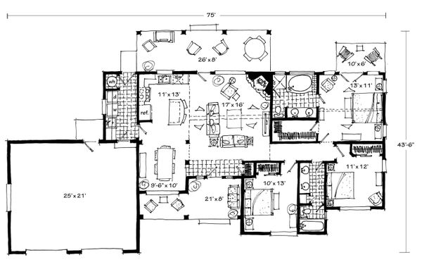 Ranch Floor Plan - Main Floor Plan Plan #942-54