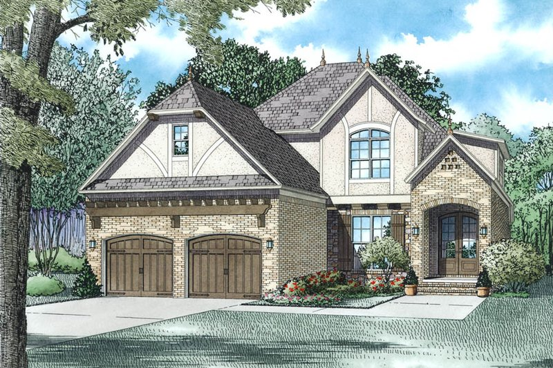 Tudor Style House Plan - 4 Beds 3 Baths 2454 Sq/Ft Plan #17-2494 Exterior - Other Elevation