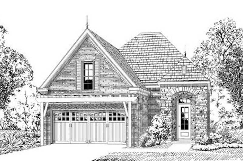 European Style House Plan - 3 Beds 2 Baths 1628 Sq/Ft Plan #424-235 Exterior - Front Elevation