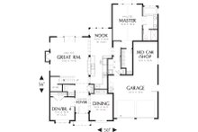 Craftsman Style house plan, bungalow design, main level floor plan