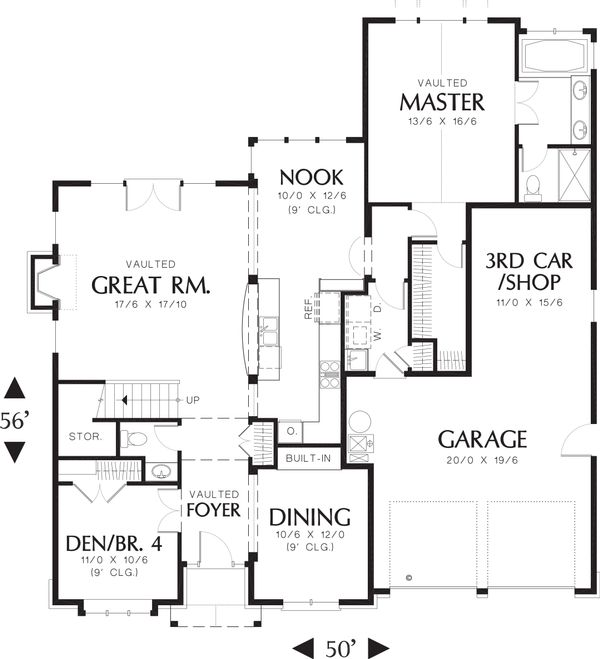 Craftsman Style house plan, bungalow design, main level floor plan