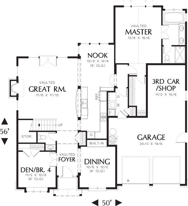 House Plan Design - Craftsman Style house plan, bungalow design, main level floor plan
