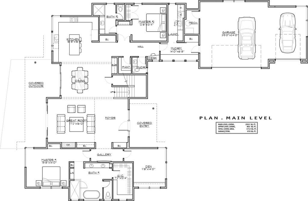 Modern Floor Plans   Modern Style House Plan 4 Beds 4 Baths 3712 Sq Ft Plan 892 17