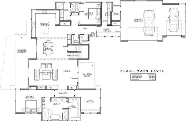 Modern Floor Plan - Main Floor Plan Plan #892-17