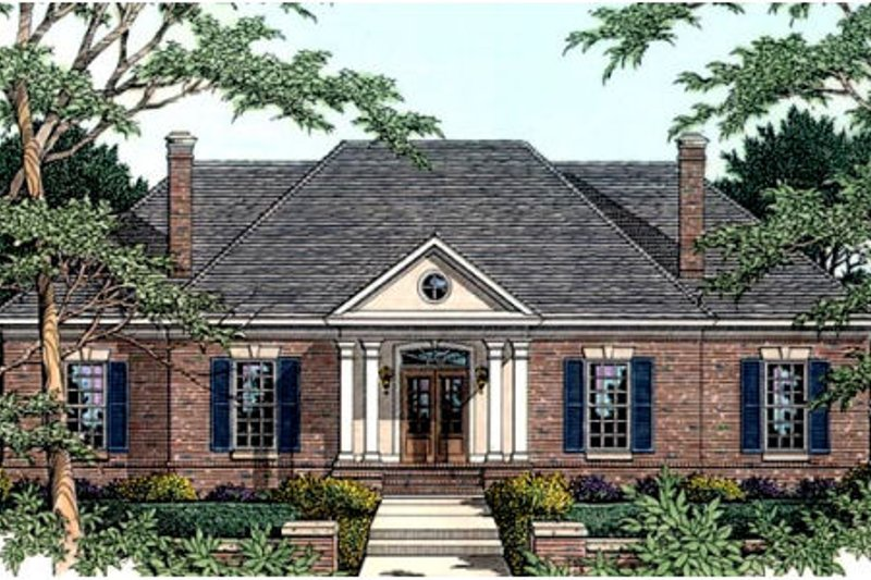 Southern Exterior - Front Elevation Plan #406-116 - Houseplans.com