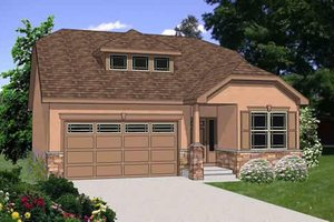 Ranch Exterior - Front Elevation Plan #116-270