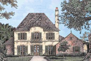 European Exterior - Front Elevation Plan #301-109