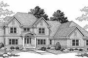 Traditional Style House Plan - 4 Beds 3.5 Baths 3443 Sq/Ft Plan #70-516 Exterior - Front Elevation