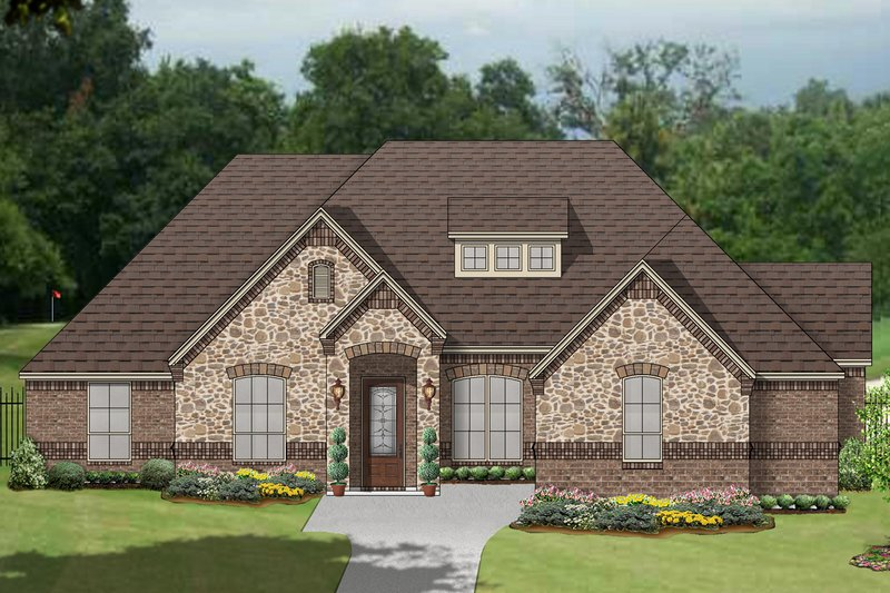 European Style House Plan - 3 Beds 3 Baths 2841 Sq/Ft Plan #84-608 Exterior - Front Elevation