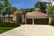 Mediterranean Style House Plan - 4 Beds 3 Baths 2403 Sq/Ft Plan #420-269 Exterior - Other Elevation