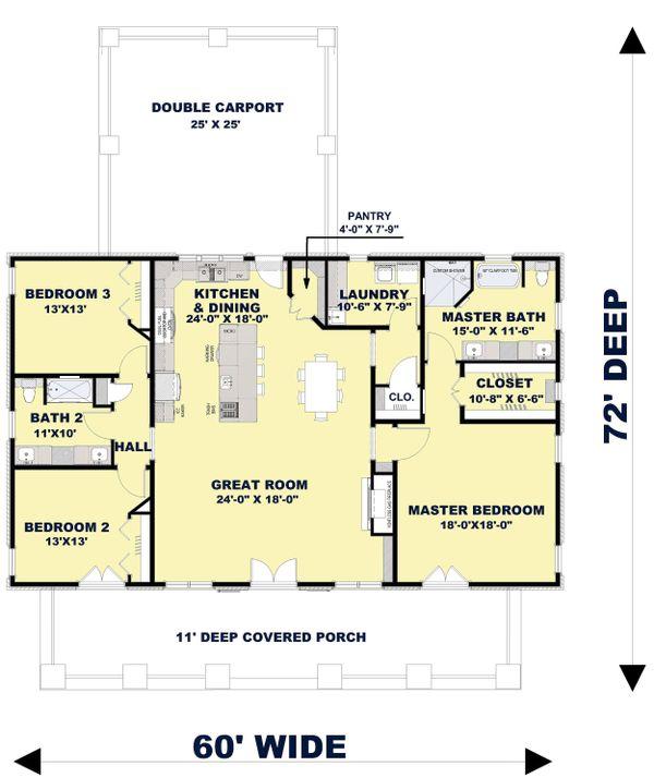 Bungalow Floor Plan - Main Floor Plan Plan #44-238