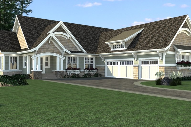 Craftsman Style House Plan - 4 Beds 4 Baths 4320 Sq/Ft Plan #51-563 Exterior - Front Elevation