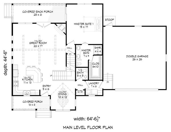 Southern Floor Plan - Main Floor Plan #932-97