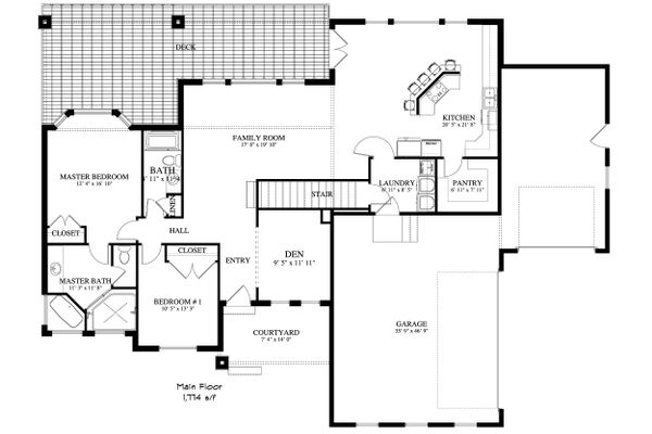 Ranch Floor Plan - Main Floor Plan Plan #1060-2