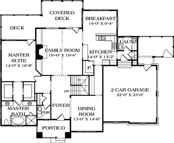 Craftsman Floor Plan - Main Floor Plan Plan #453-12