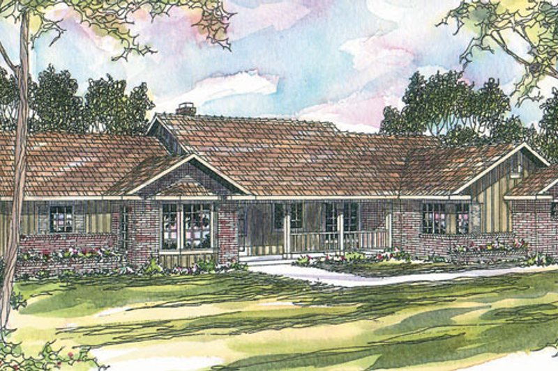 Ranch Style House Plan - 4 Beds 3 Baths 2351 Sq/Ft Plan #124-192 Exterior - Front Elevation