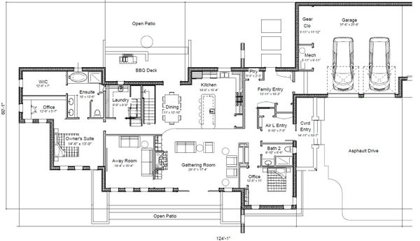 Contemporary Floor Plan - Main Floor Plan Plan #451-24