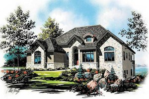 European Exterior - Front Elevation Plan #5-149