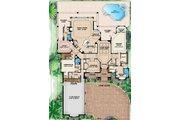 Mediterranean Style House Plan - 4 Beds 4.5 Baths 5025 Sq/Ft Plan #27-429 Floor Plan - Main Floor Plan