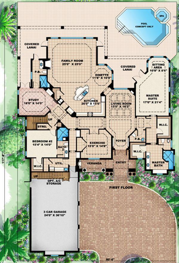Mediterranean Floor Plan - Main Floor Plan Plan #27-429