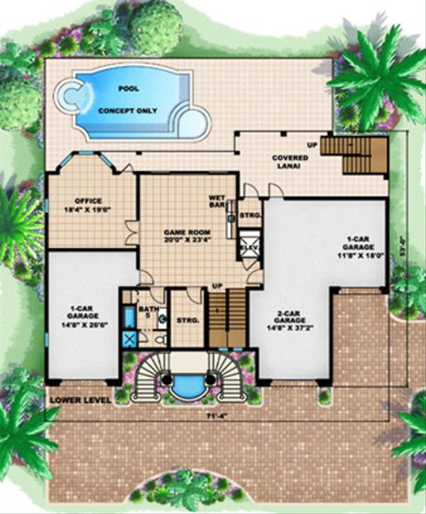 Mediterranean Floor Plan - Lower Floor Plan Plan #27-396