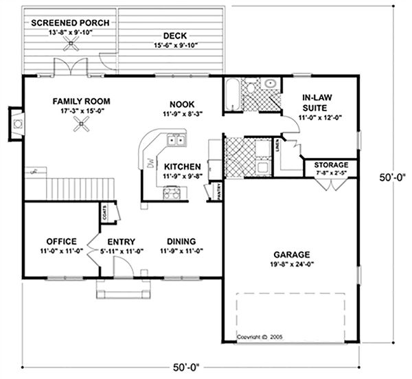 Colonial Floor Plan - Main Floor Plan Plan #56-244