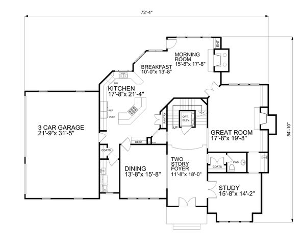 Traditional Style House Plan - 4 Beds 4.5 Baths 4156 Sq/Ft Plan #30-346 Floor Plan - Main Floor Plan