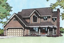 House Plan Design - Traditional style, country home design, elevation