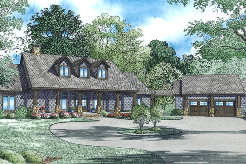 European Style House Plan - 5 Beds 4.5 Baths 4469 Sq/Ft Plan #17-2545 Exterior - Front Elevation