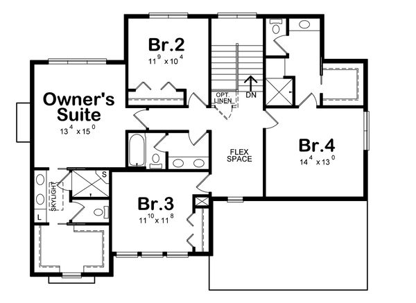Traditional Floor Plan - Upper Floor Plan Plan #20-2279