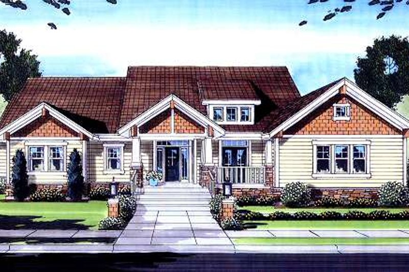 Dream House Plan - Craftsman Exterior - Front Elevation Plan #46-419