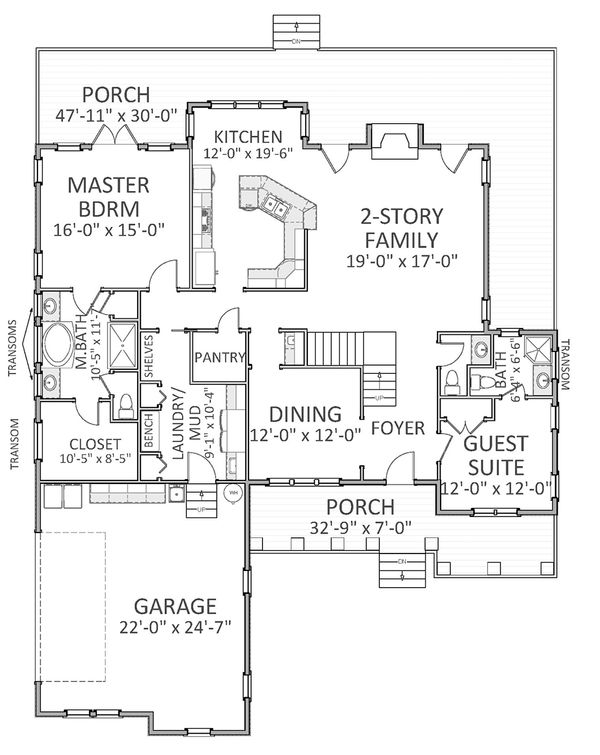 Traditional Floor Plan - Main Floor Plan Plan #898-29