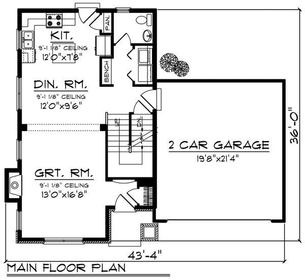 Traditional Floor Plan - Main Floor Plan Plan #70-1187