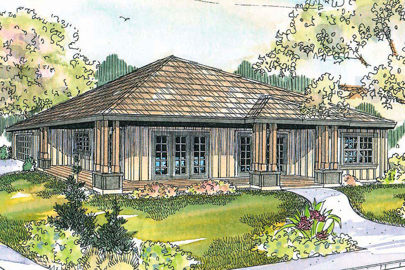 Prairie Style House Plan - 3 Beds 2 Baths 1456 Sq/Ft Plan #124-519 Exterior - Front Elevation