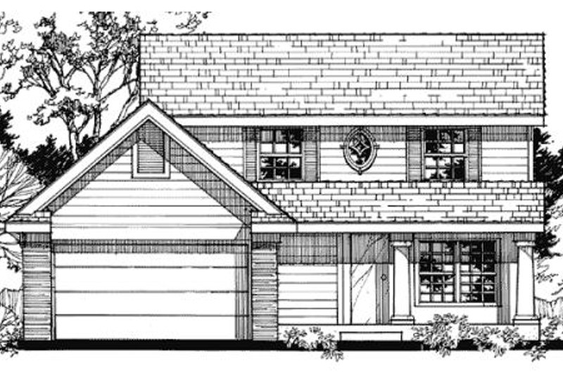 Country Style House Plan - 3 Beds 2.5 Baths 1396 Sq/Ft Plan #320-373 Exterior - Front Elevation