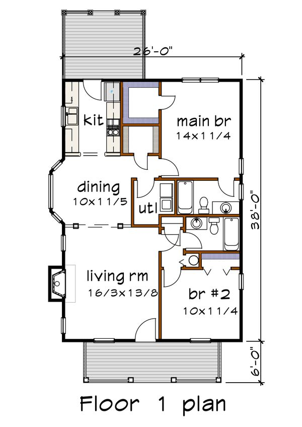 Cottage Floor Plan - Main Floor Plan Plan #79-134