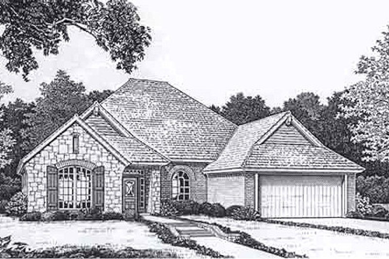 European Style House Plan - 3 Beds 2.5 Baths 2004 Sq/Ft Plan #310-906 Exterior - Front Elevation