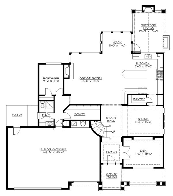 Traditional Floor Plan - Main Floor Plan Plan #132-569