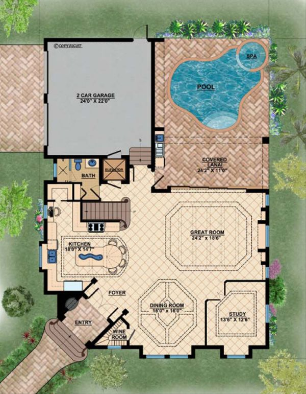 Mediterranean Floor Plan - Main Floor Plan #548-6
