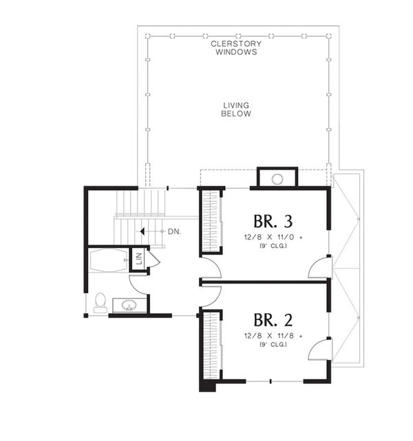 Modern Floor Plan - Upper Floor Plan Plan #48-530