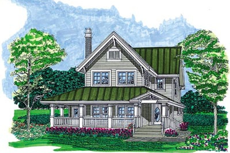 Farmhouse Style House Plan - 3 Beds 2.5 Baths 1568 Sq/Ft Plan #47-422 Exterior - Front Elevation