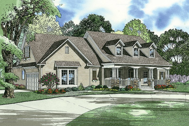 Country style farmhouse design front elevation