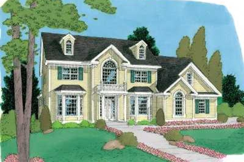 Traditional Style House Plan - 4 Beds 2.5 Baths 2920 Sq/Ft Plan #75-150 Exterior - Front Elevation