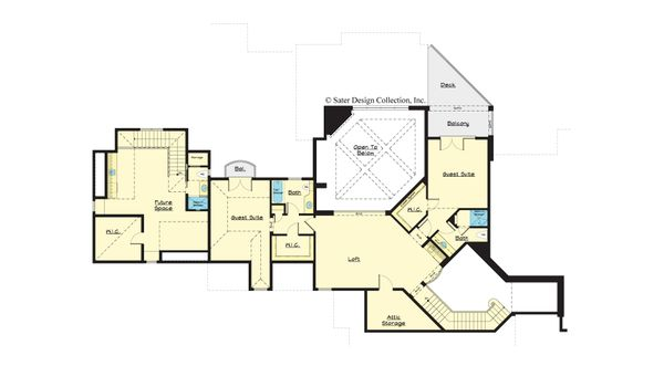 European Floor Plan - Upper Floor Plan #930-516
