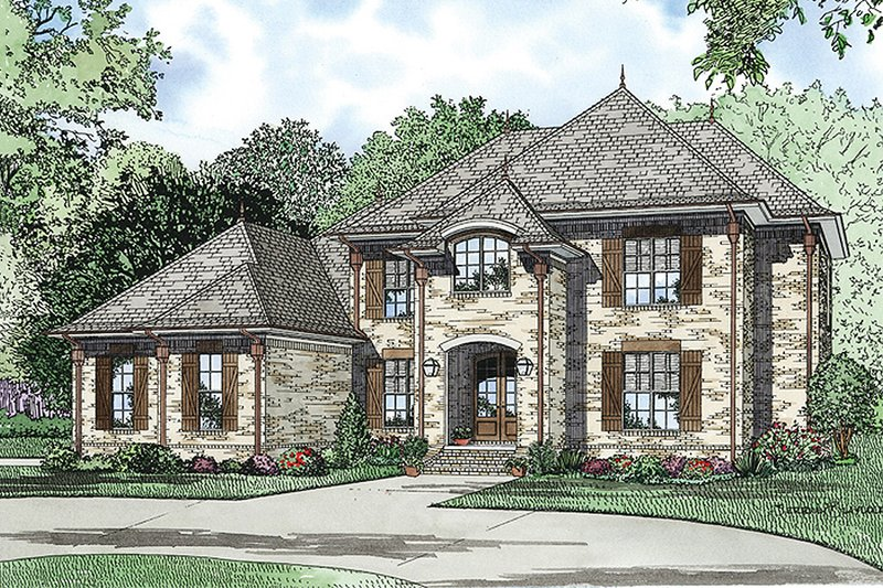 European Style House Plan - 5 Beds 4 Baths 3601 Sq/Ft Plan #17-2382 Exterior - Front Elevation
