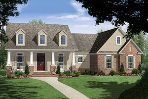 Traditional style home with country details, elevation