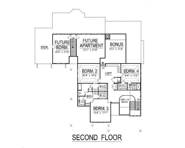 Craftsman Floor Plan - Upper Floor Plan Plan #458-5